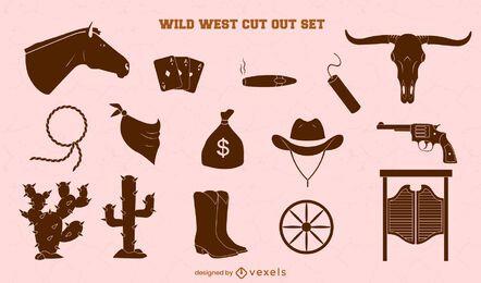 Set of cowboy cut out elements