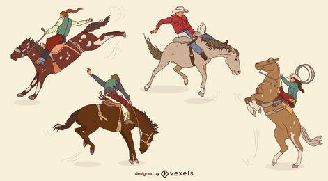 Conjunto de vaqueiros em cavalos em movimento