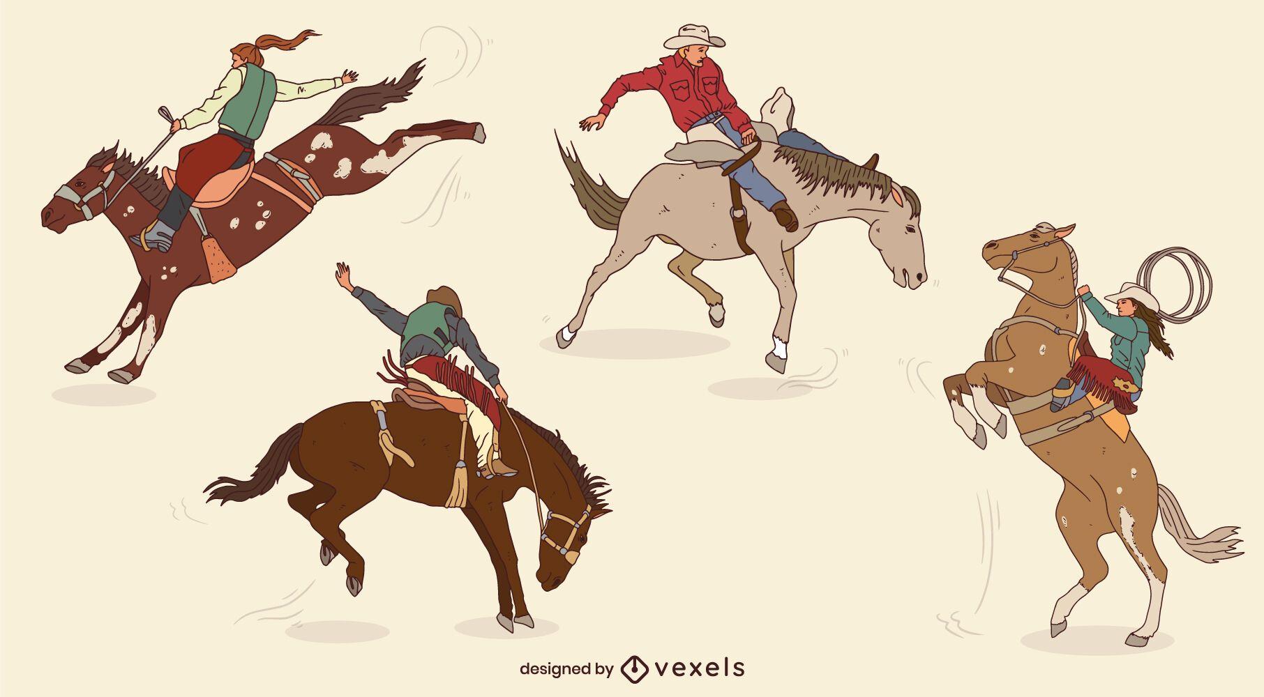 Conjunto de vaqueros en caballos en movimiento