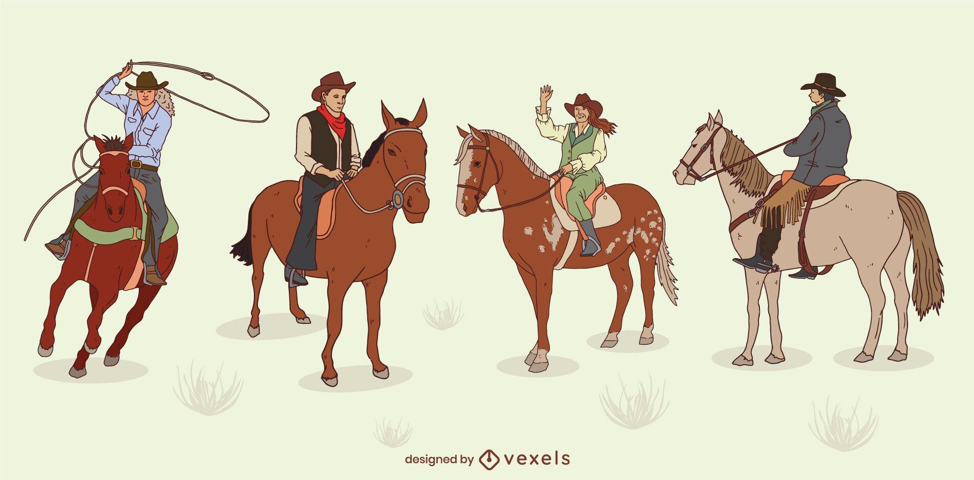 Conjunto de personagens de cowboys em cavalos