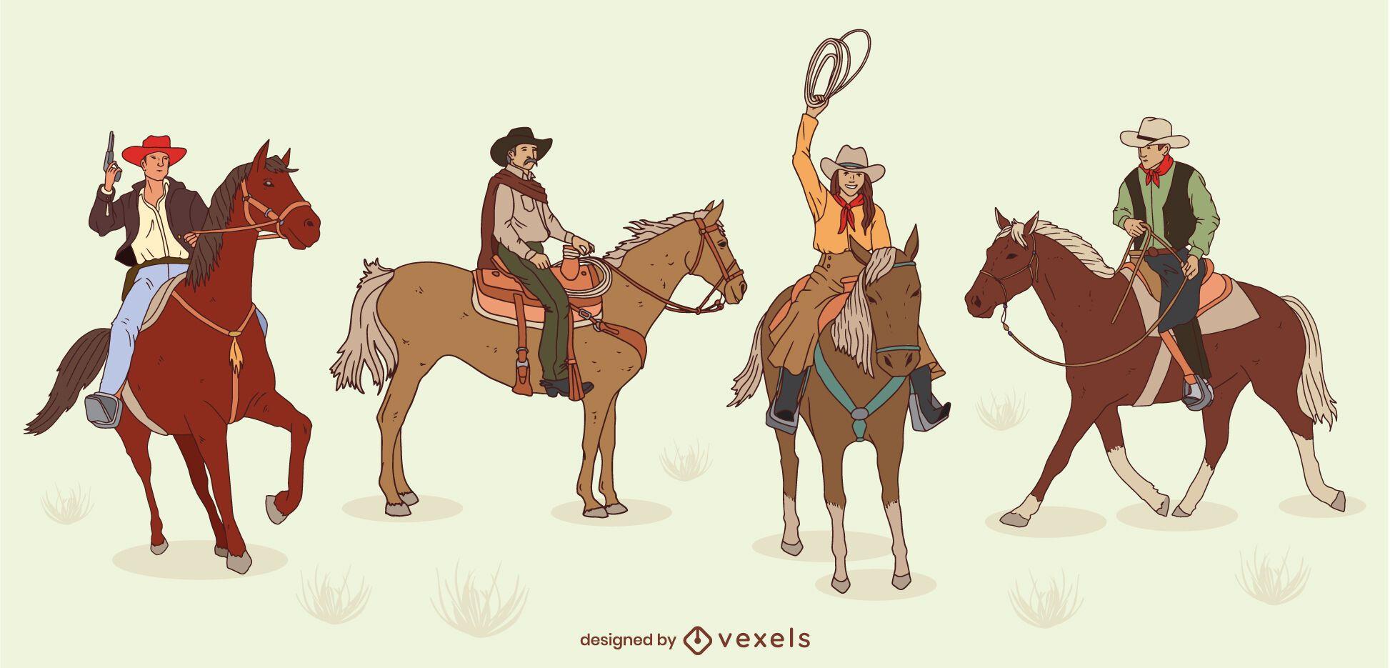Conjunto de cowboys com traços coloridos em cavalos
