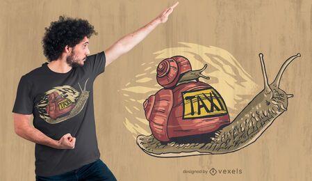 Diseño de camiseta de taxi caracol