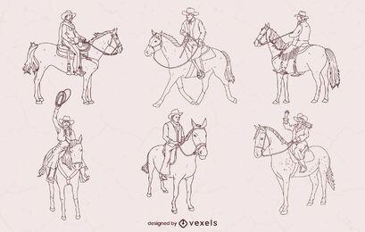 Set of stroke cowboys on horses