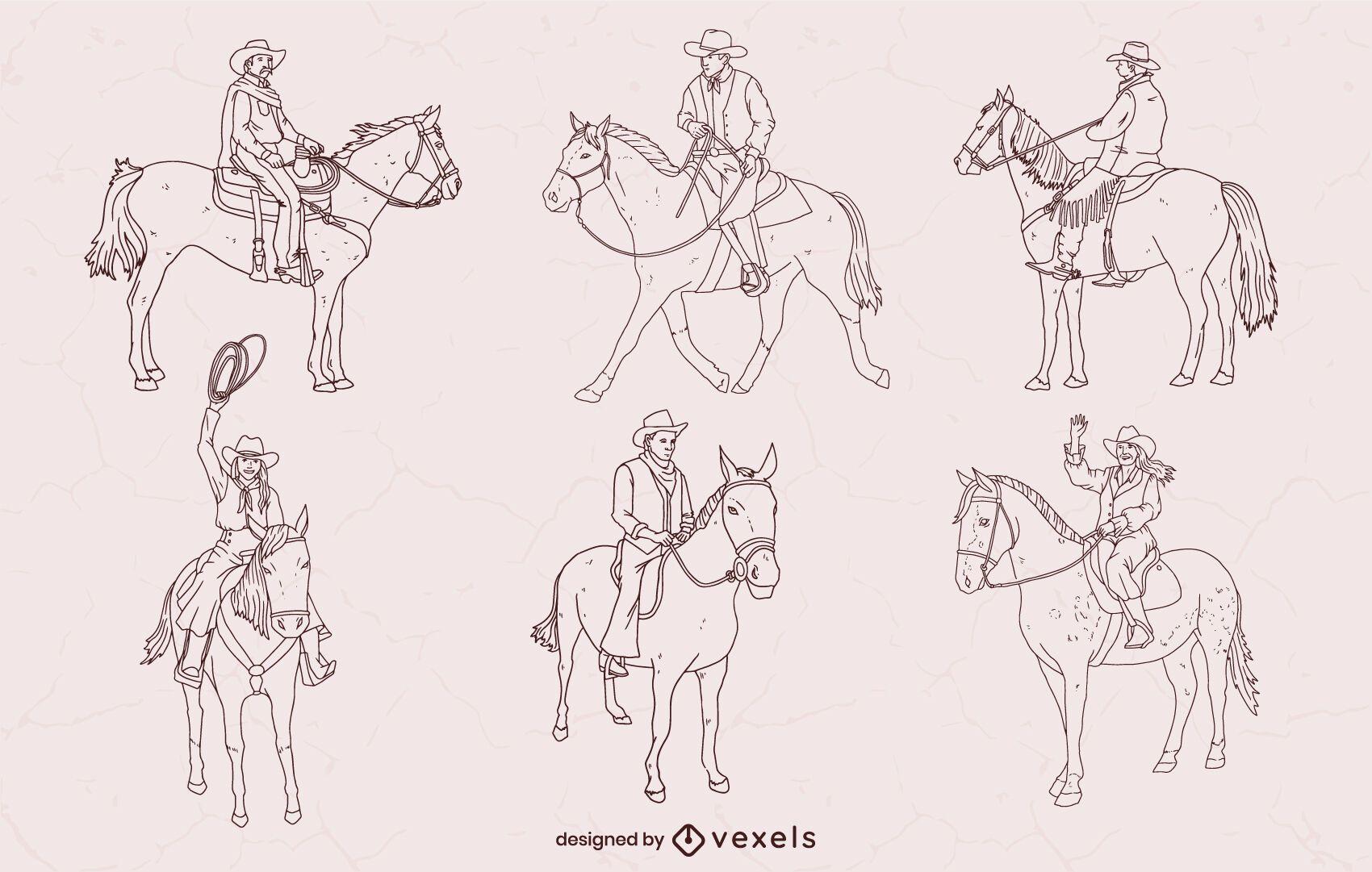 Conjunto de cowboys em cavalos