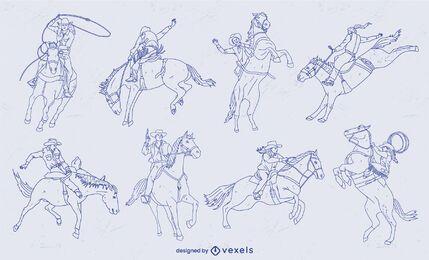 Cowboys on moving horses stroke set