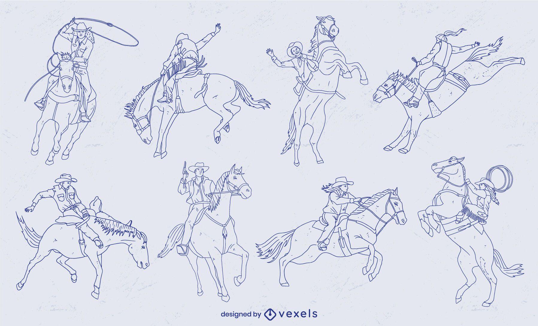 Conjunto de trazos de vaqueros en caballos en movimiento