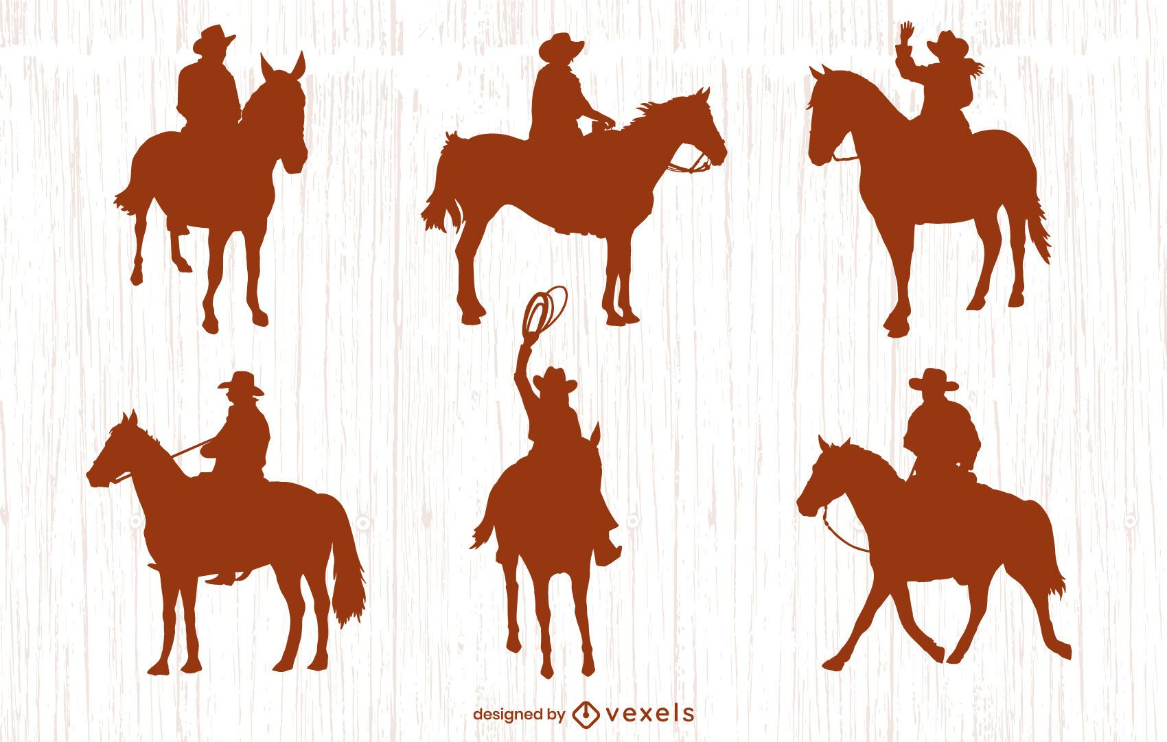 Conjunto de silhuetas de cowboys em pé