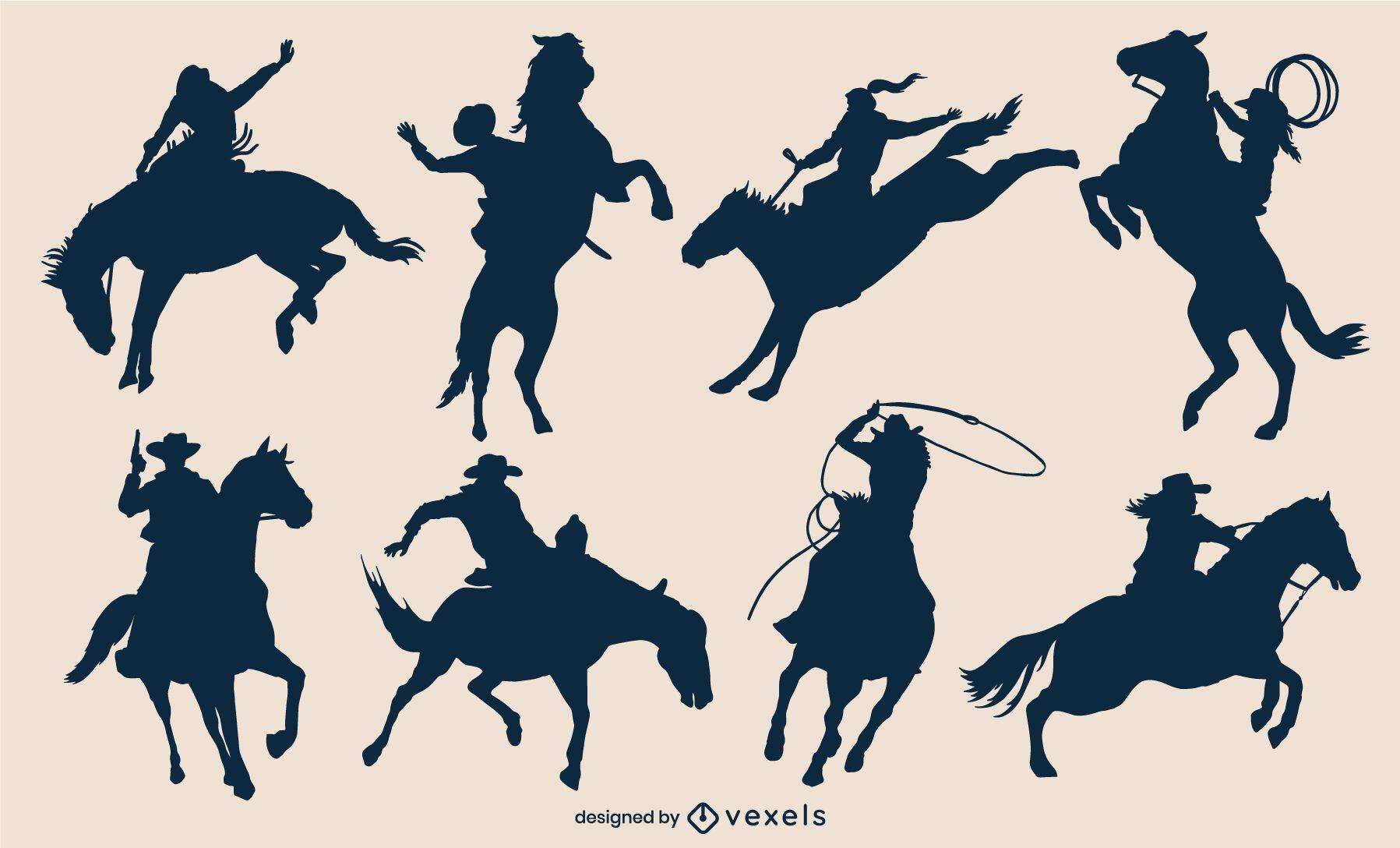 Moviendo a vaqueros en siluetas de caballos
