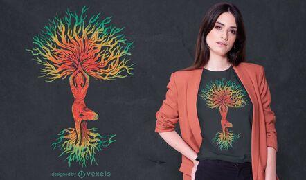 Mujer en diseño de camiseta de árbol de pose de yoga