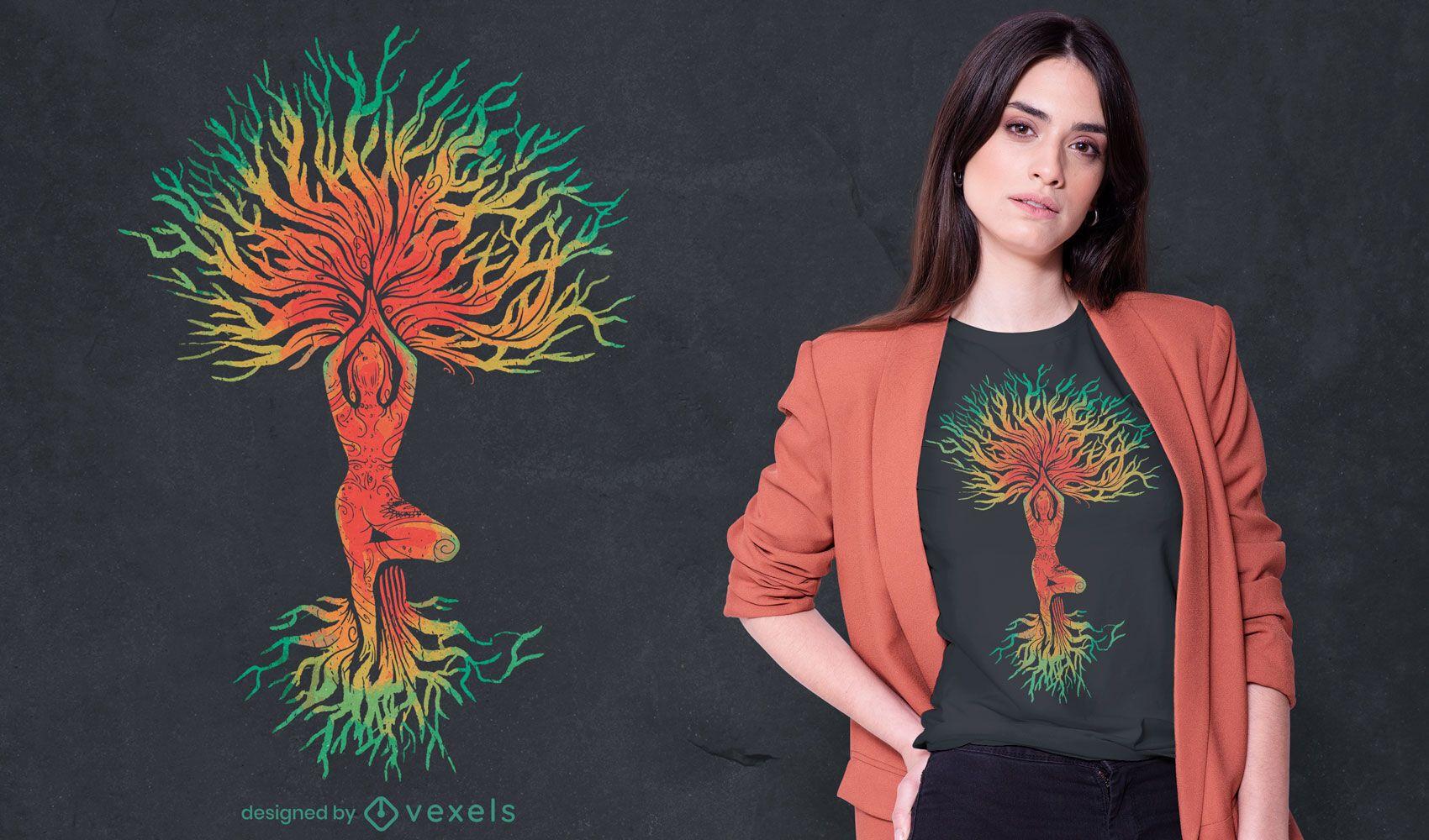 Mulher em pose de ioga com design de t-shirt em árvore