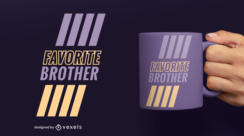 Favorite brother filled stroke mug design