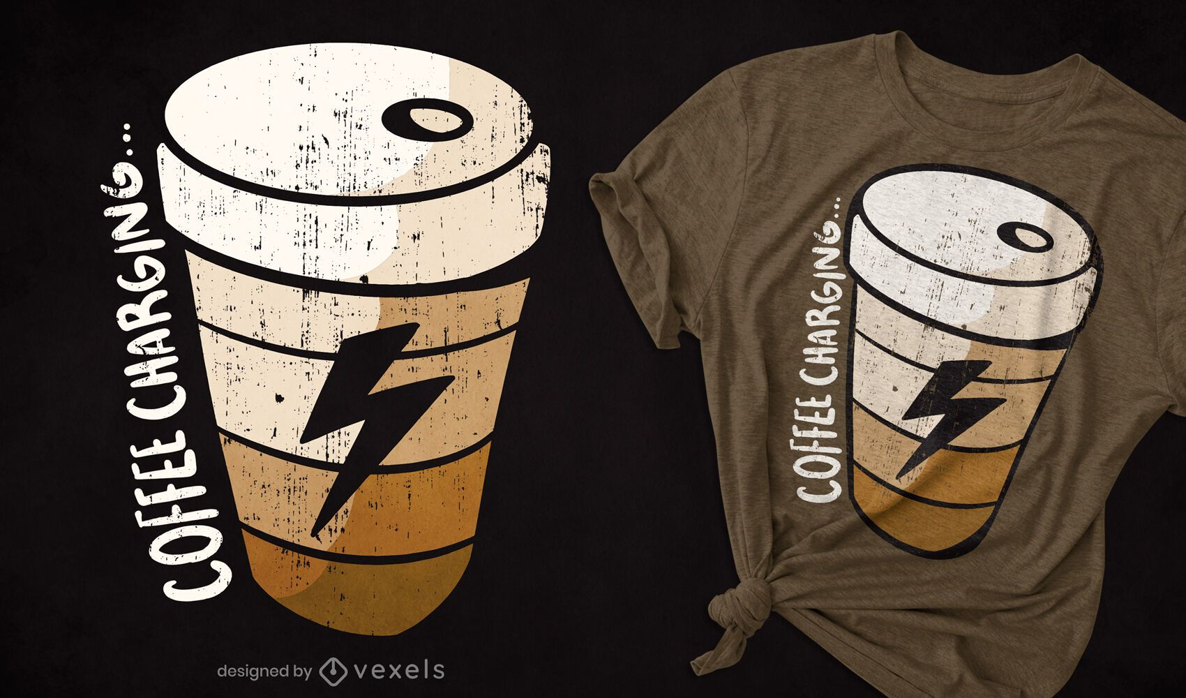 Coffee cup charging t-shirt design