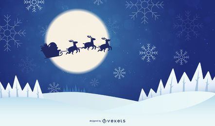 Invierno, Navidad, Santa Claus, Reno Vectores