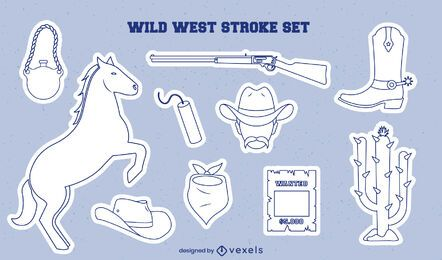 Cowboy stickers stroke set