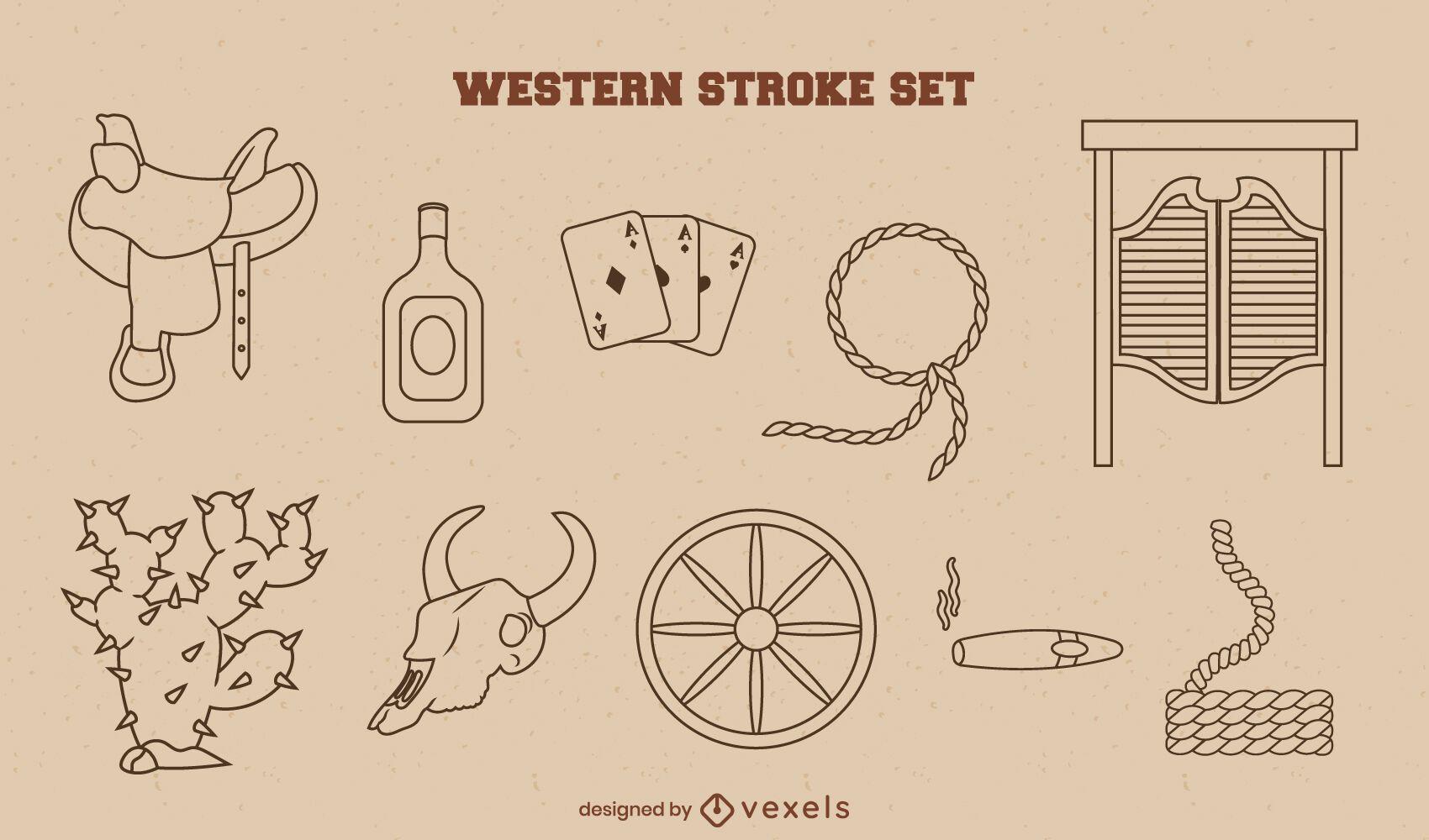 Cowboy items stroke set