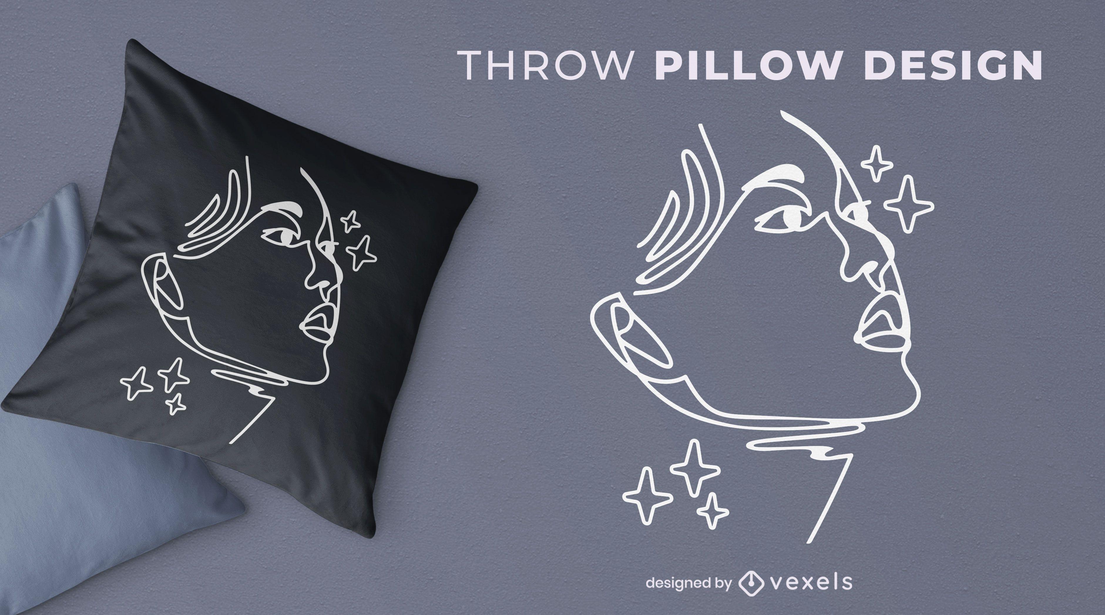 Diseño de almohada de tiro de cara de mujer