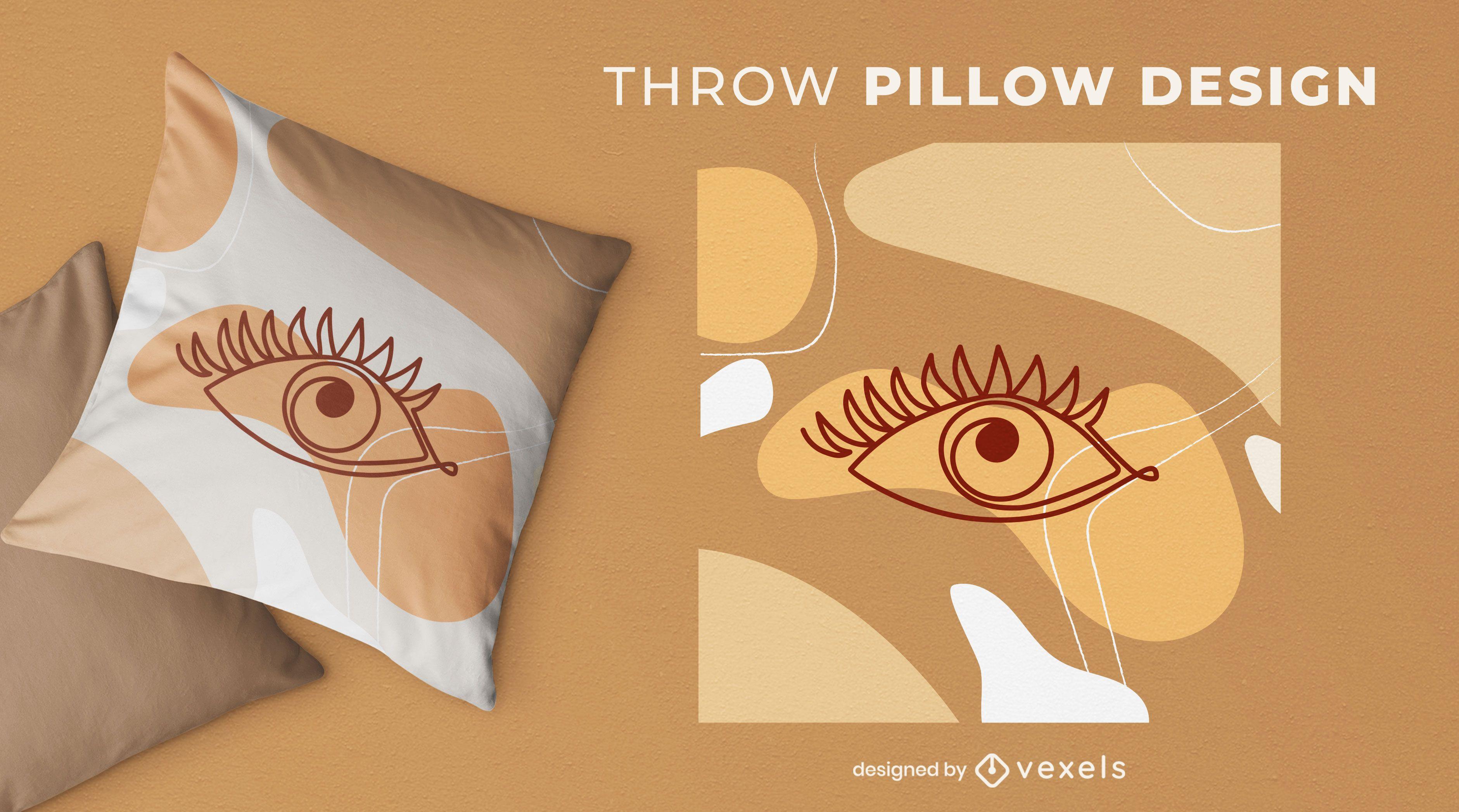 Diseño de almohada de ojo abstracto de trazo