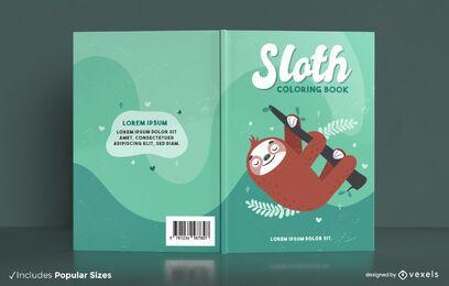 Diseño de portada de libro para colorear de animales perezosos
