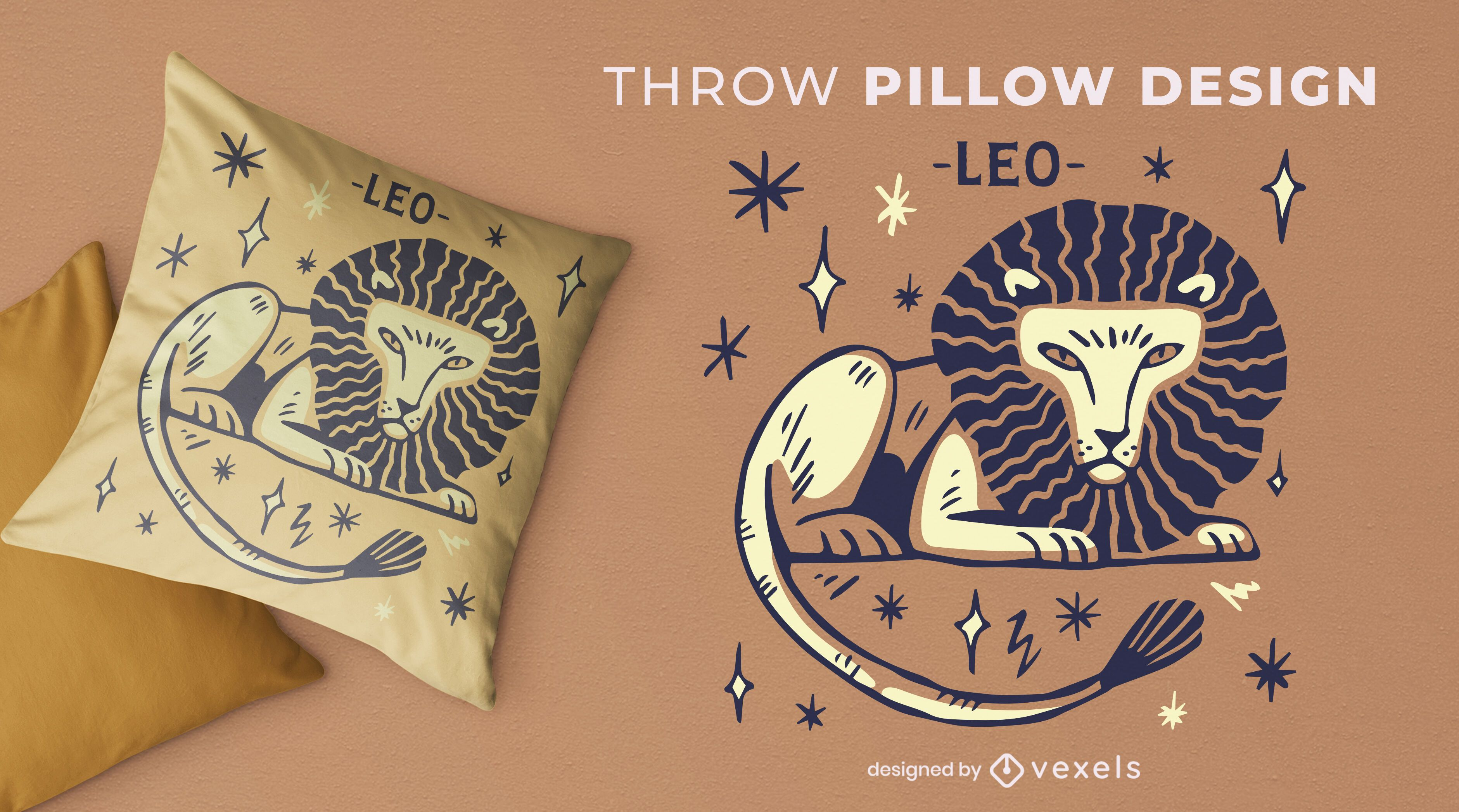Leo zodiac sign hand drawn throw pillow