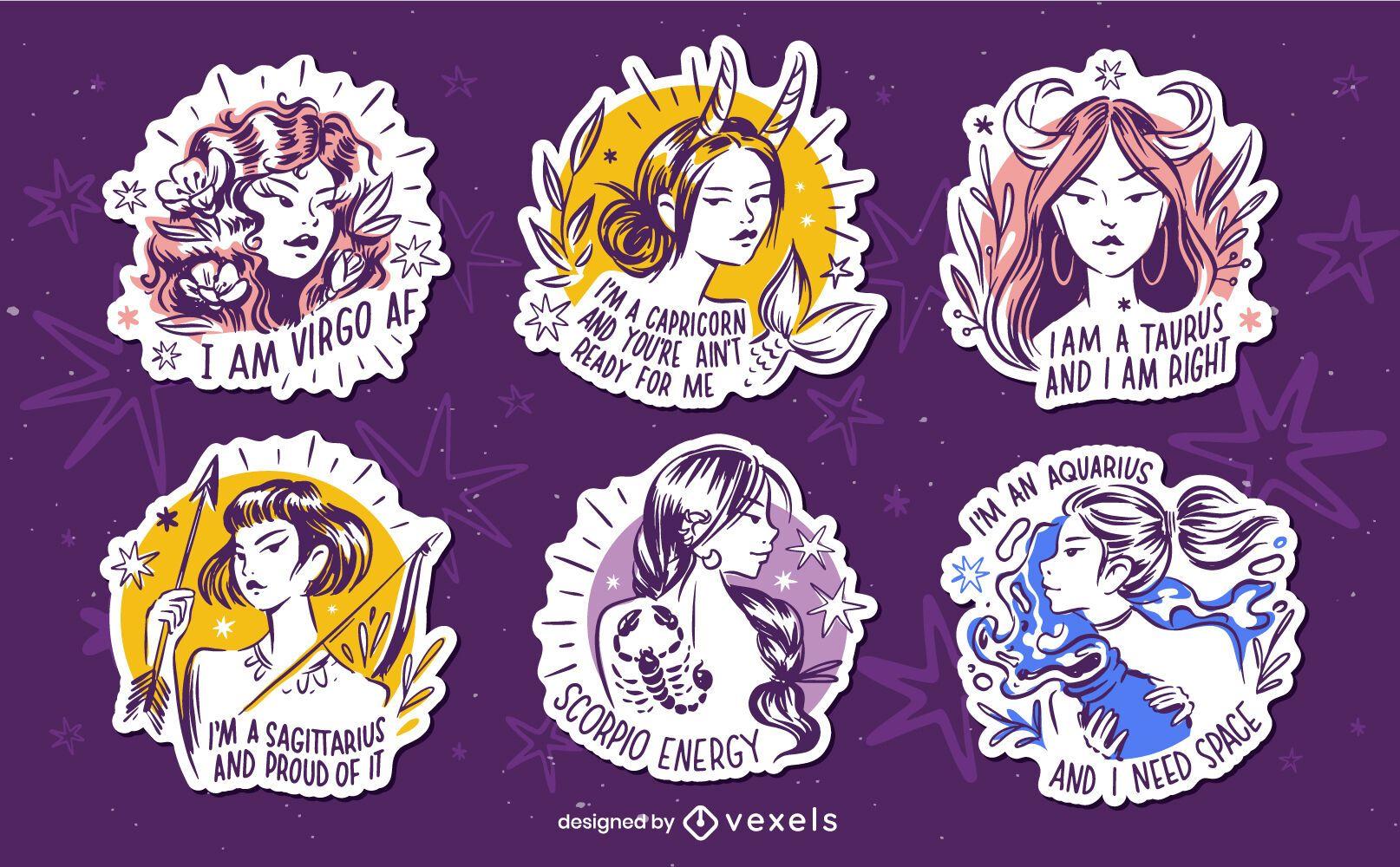 Conjunto de emblemas de citações do zodíaco desenhados à mão