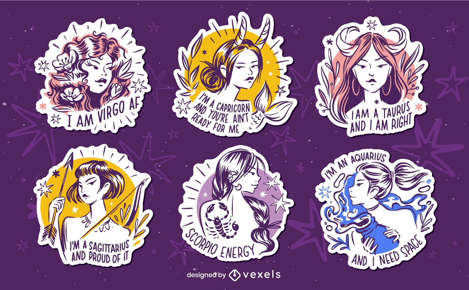 Set of hand drawn zodiac quotes badges