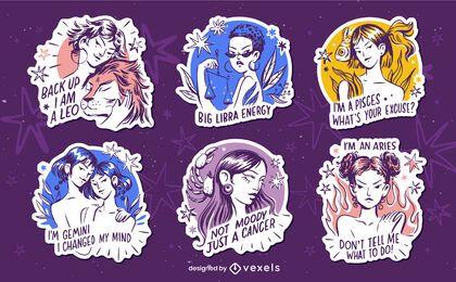 Conjunto de emblemas do zodíaco desenhado à mão com aspas