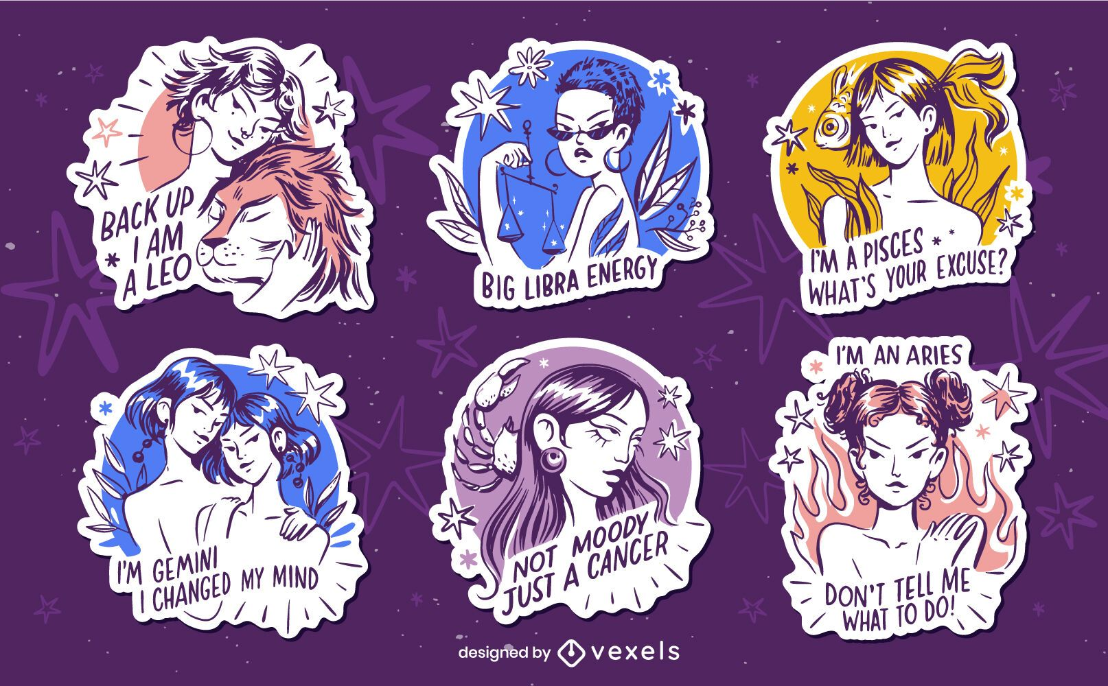 Hand drawn set of zodiac badges with quotes