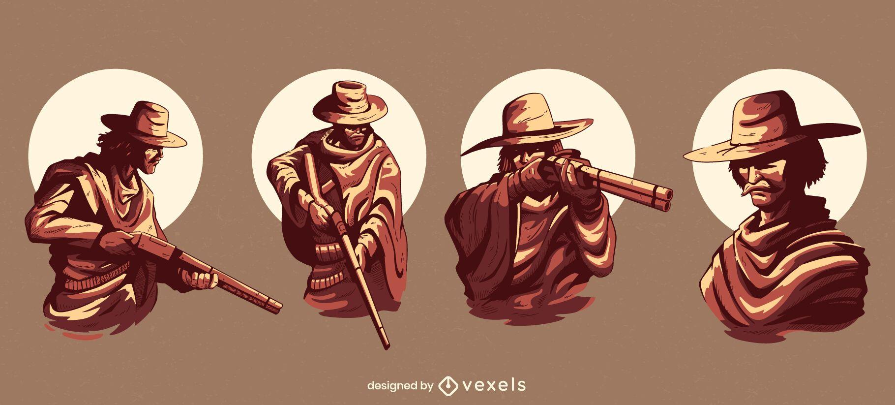 Conjunto de ilustração de personagens de caubói