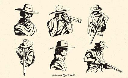 Personajes de vaquero con rifles.