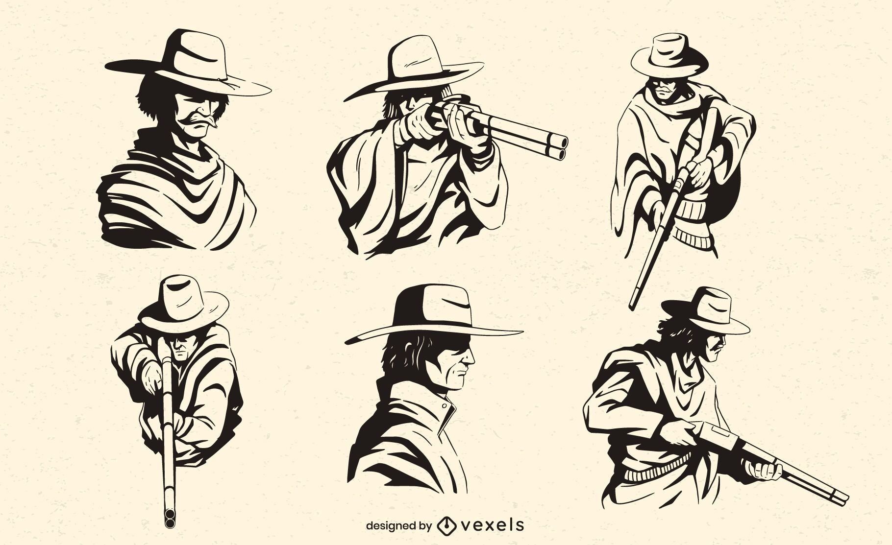 Cowboy characters with rifles set