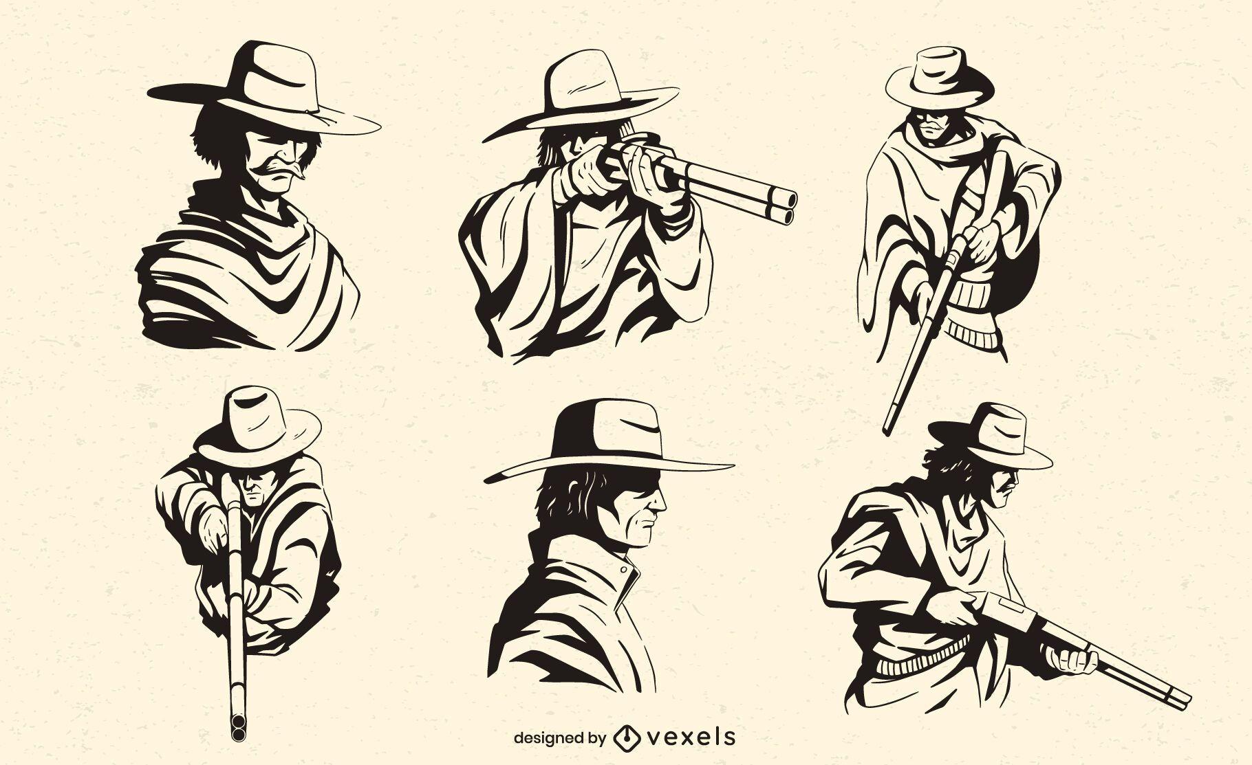 Personagens de caubói com conjunto de rifles