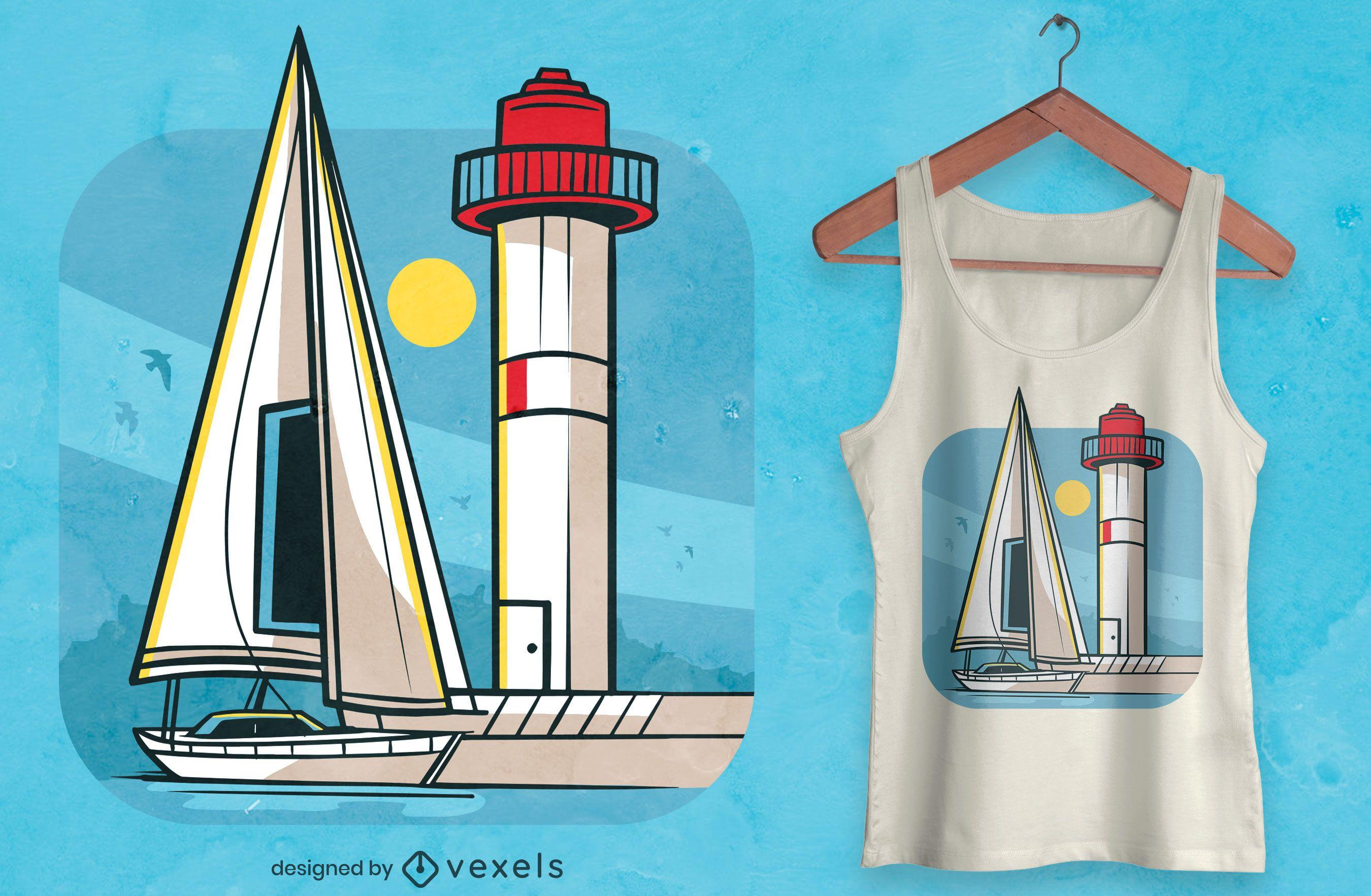 Desenho de t-shirt de farol e barco a vela