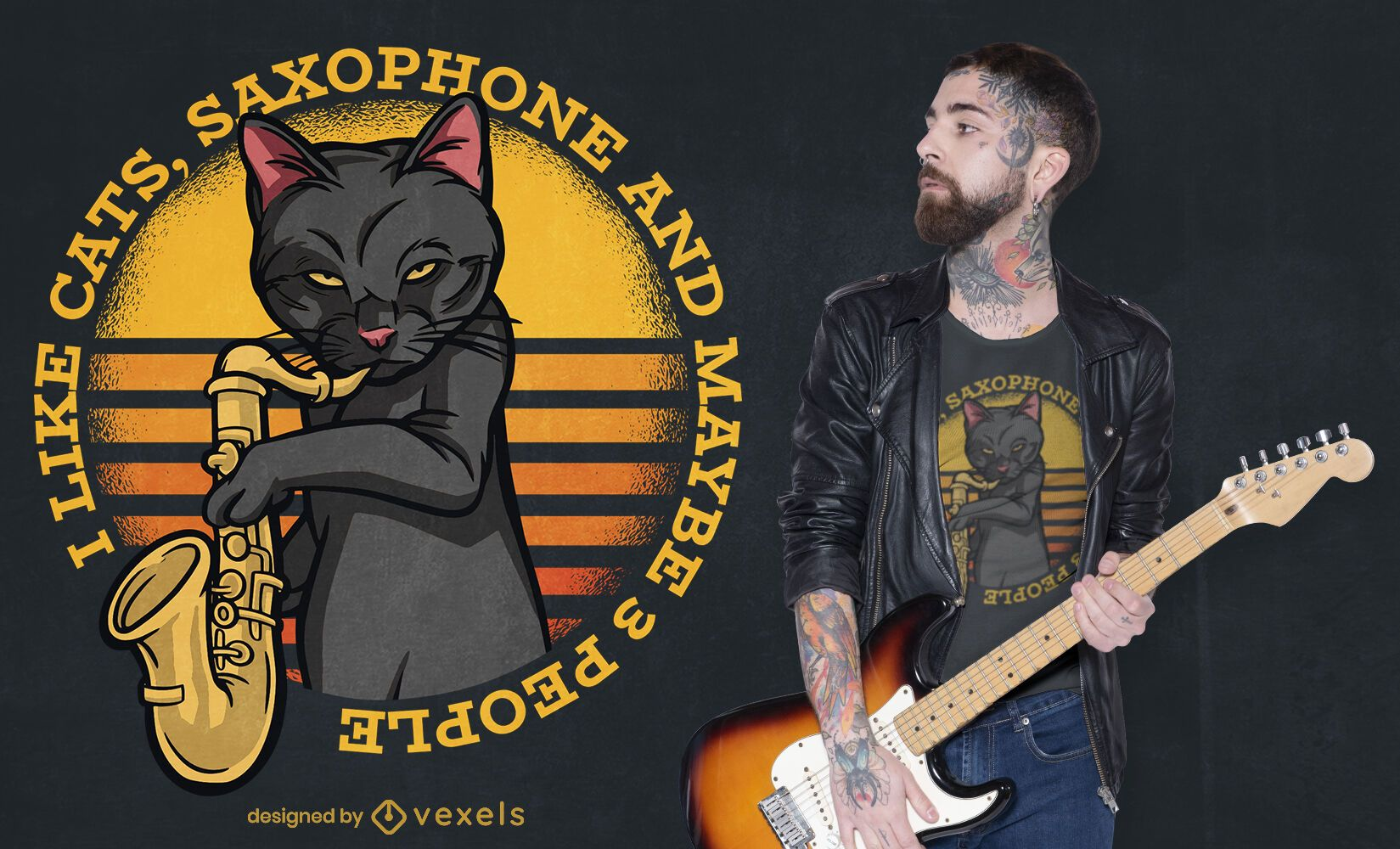 Gato tocando saxofone com design de camiseta