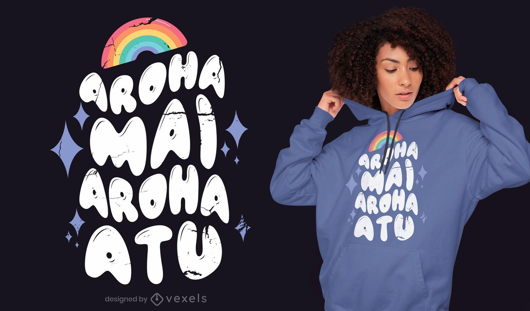 Design de camiseta com citações de amor do arco-íris LGBT