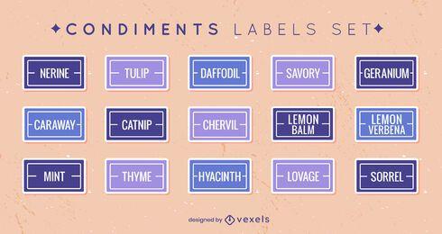 Set of flat condiment labels set