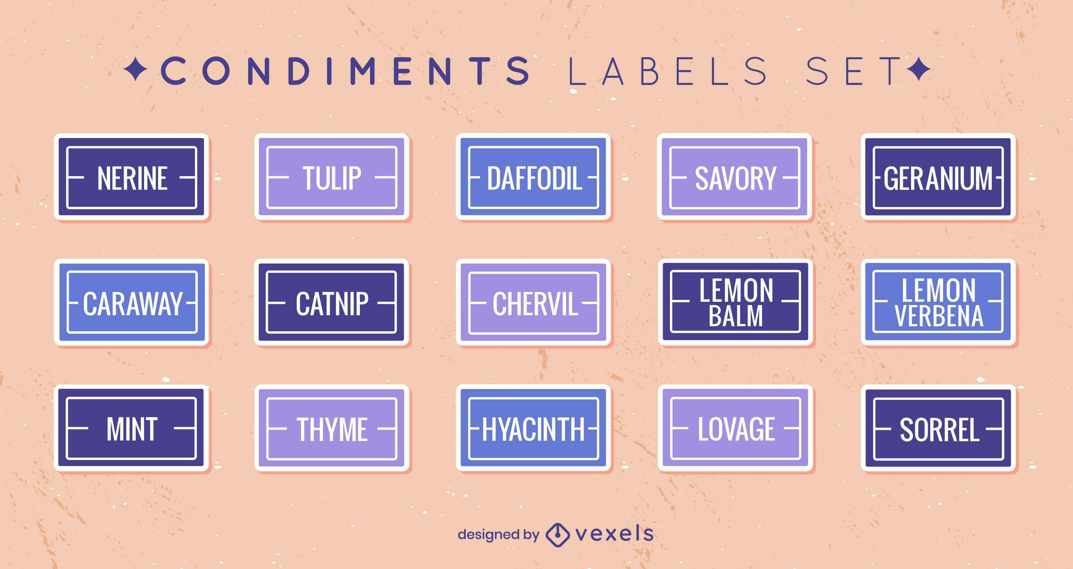 Conjunto de rótulos de condimentos planos