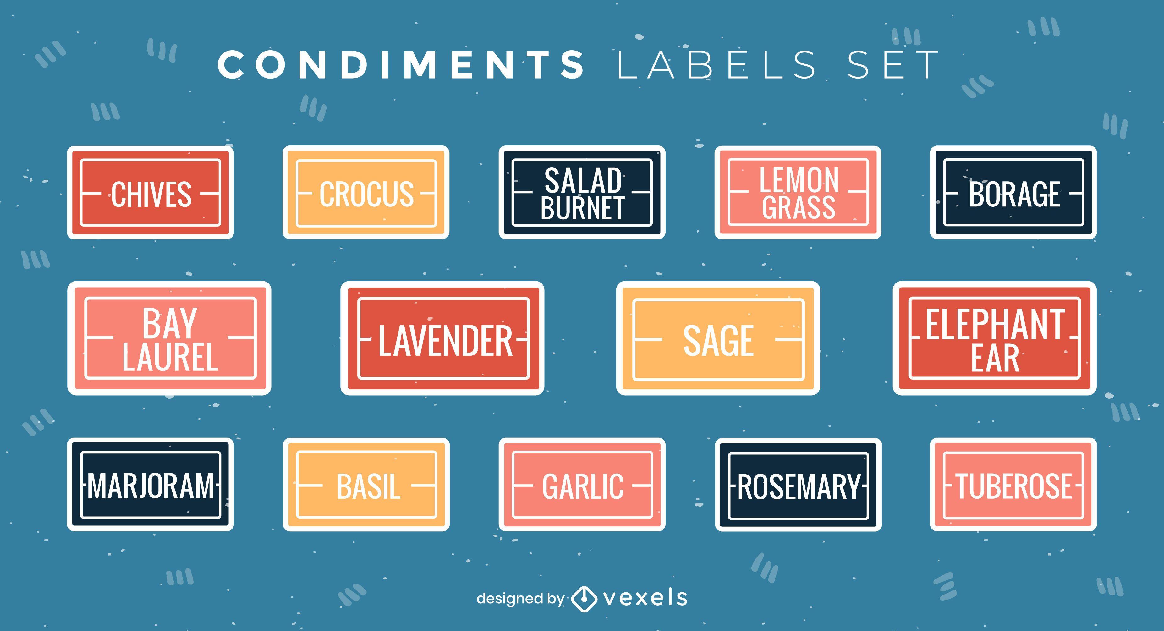 Conjunto de rótulos de condimentos simples e planos