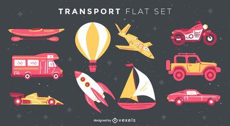 Conjunto de elementos de transporte plano