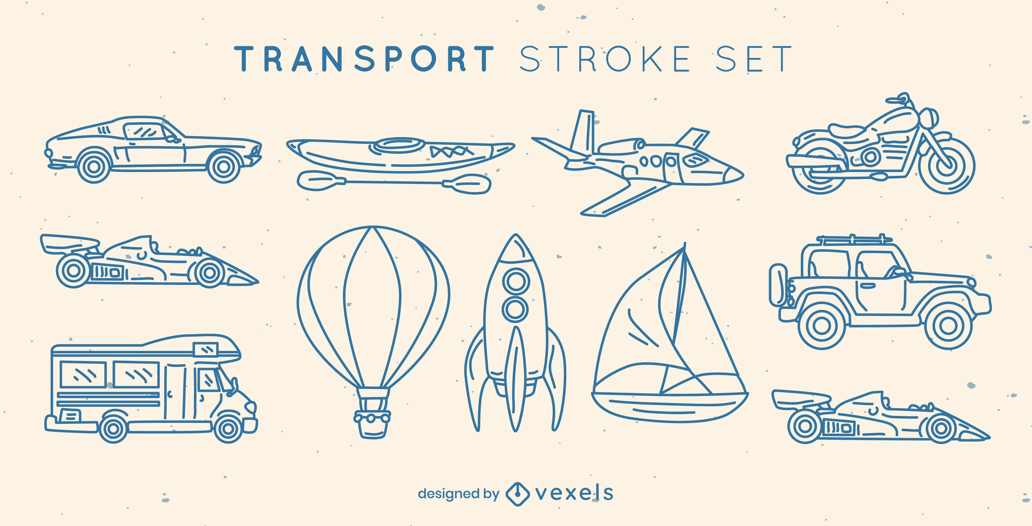 Conjunto de elementos de trazo de transporte.
