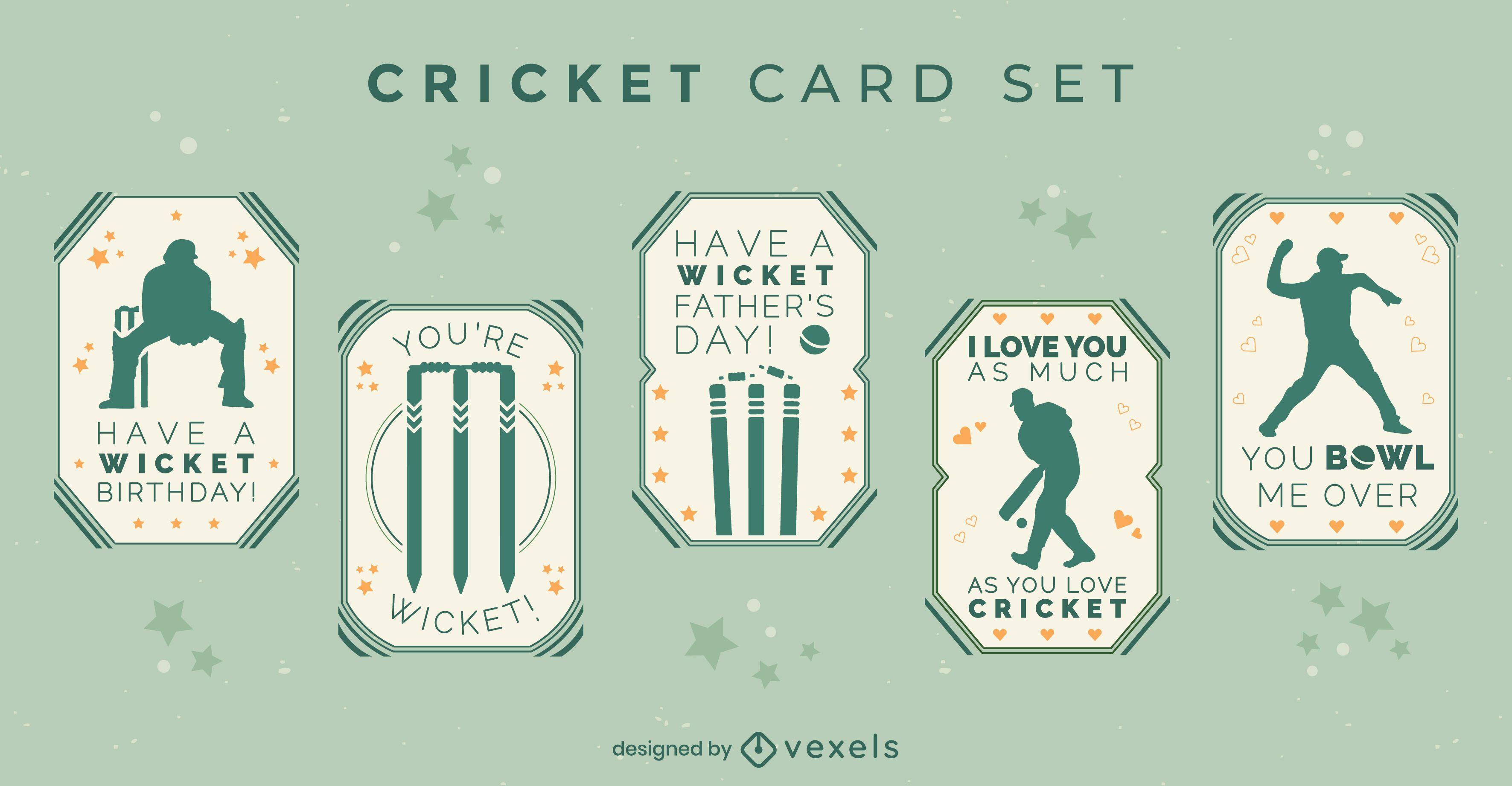 Cartão de críquete com conjunto de aspas