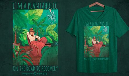 Girl in room with plants t-shirt design