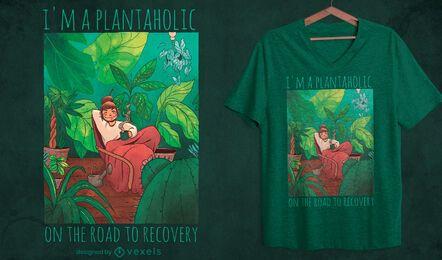Menina na sala com design de t-shirt de plantas