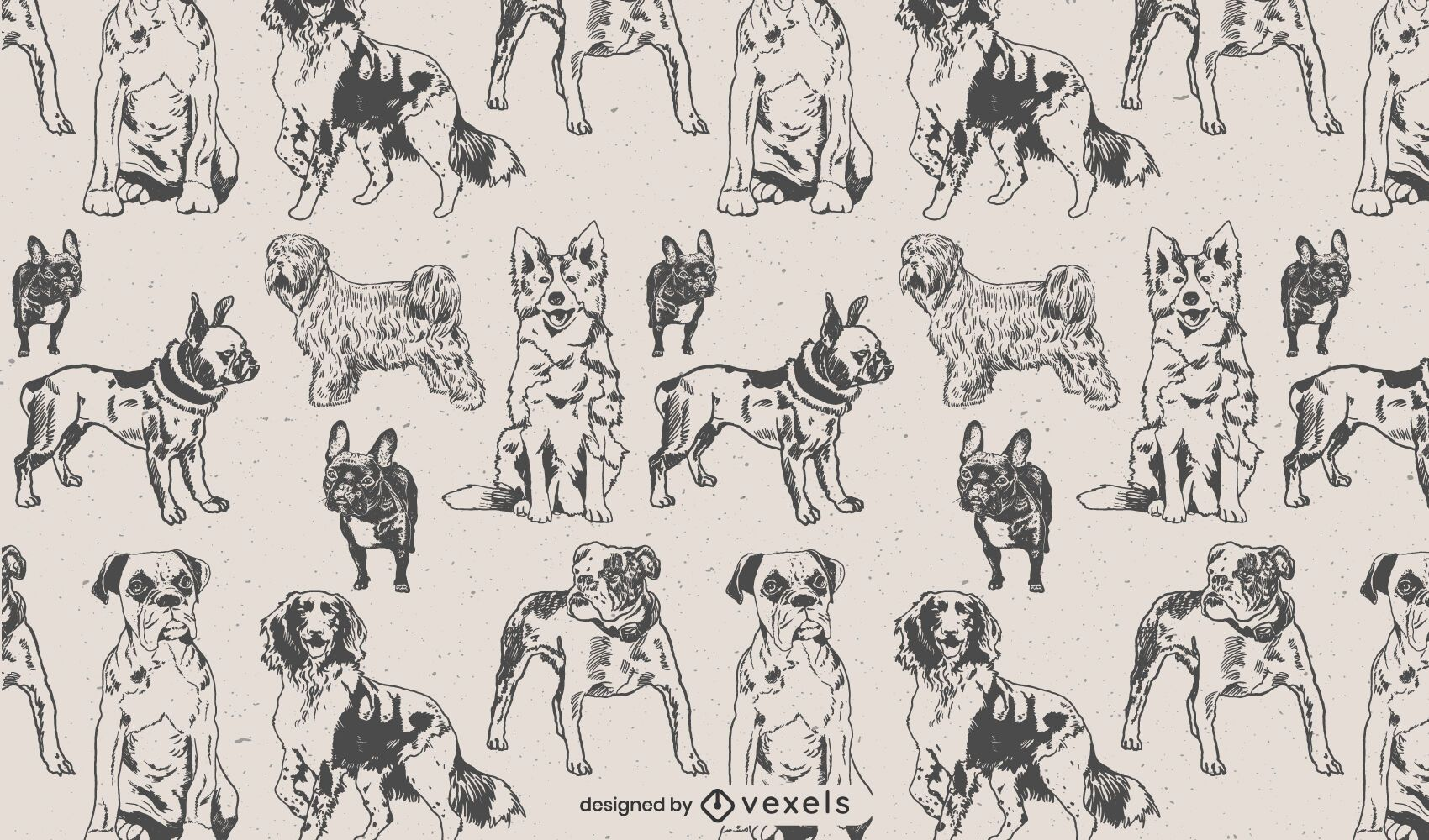 Dog hand drawn pattern design
