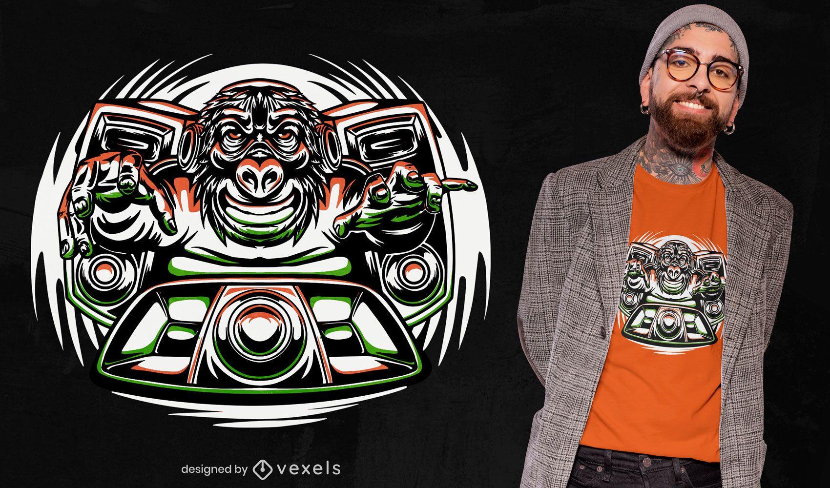 Diseño de camiseta de música mono animal dj.