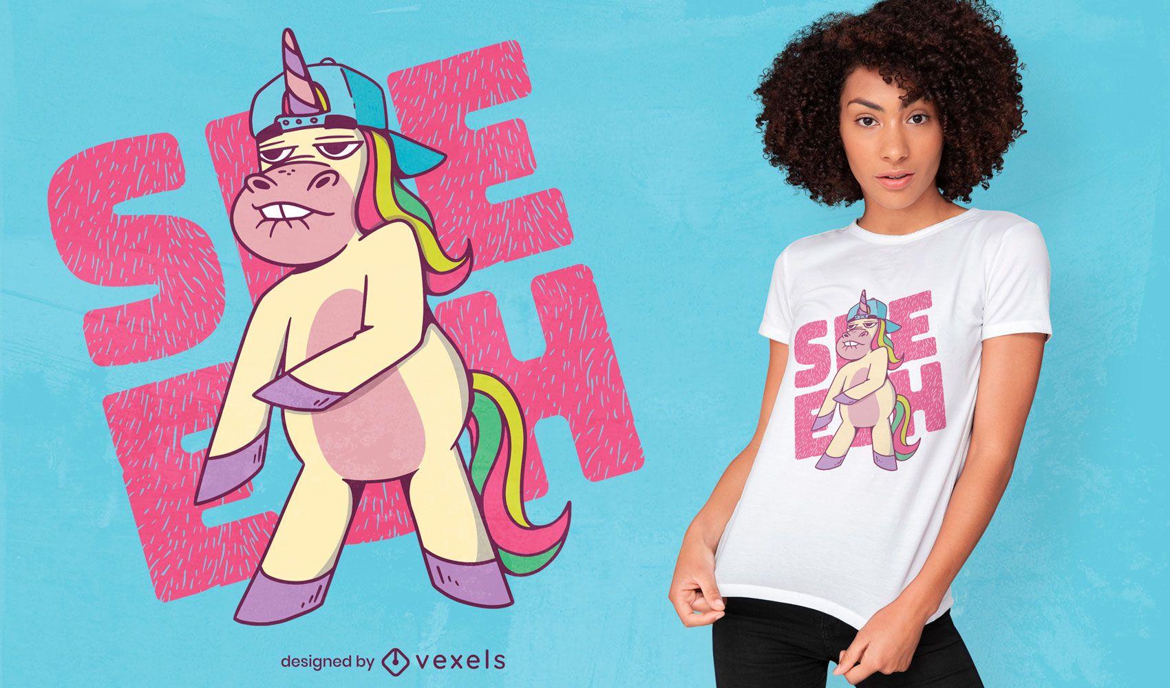 Diseño de camiseta de criatura unicornio hip hop.