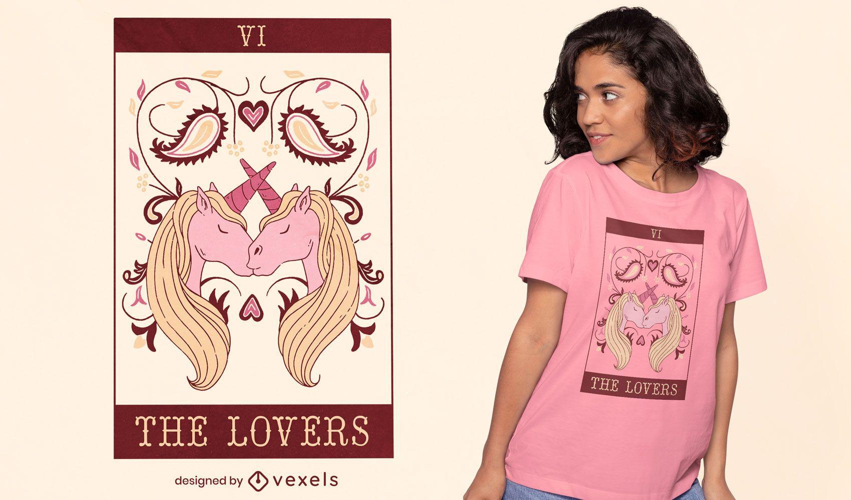 Kissing unicorns tarot card t-shirt design