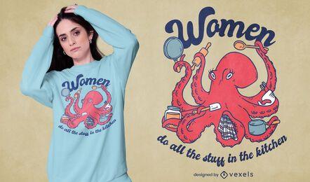 Diseño de camiseta de cocina de animales marinos pulpo.