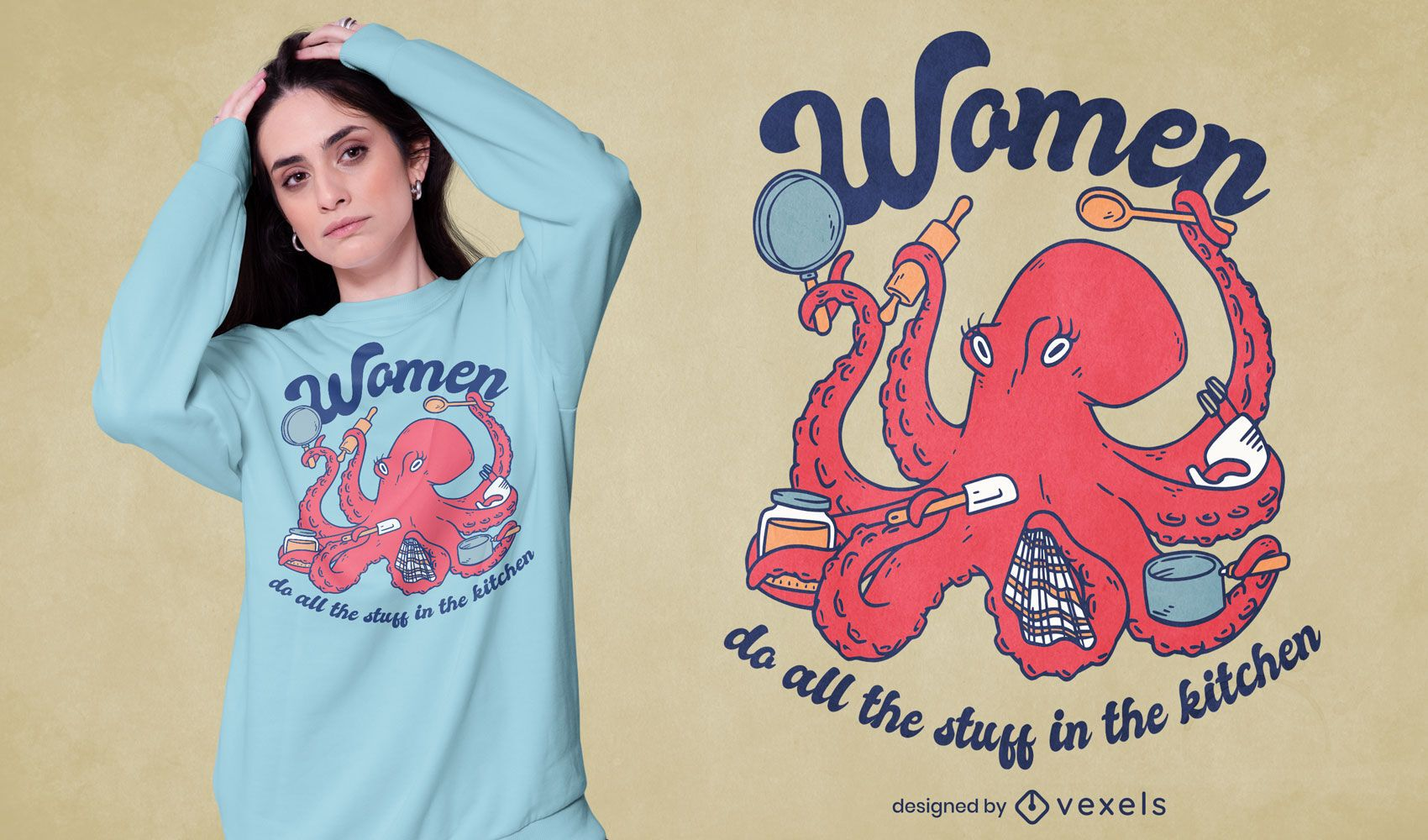 Design de t-shirt polvo de animal marinho cozinhando