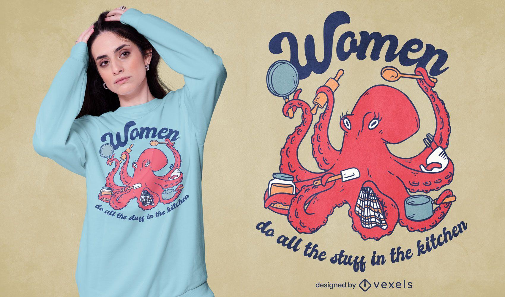 Octopus sea animal cooking t-shirt design