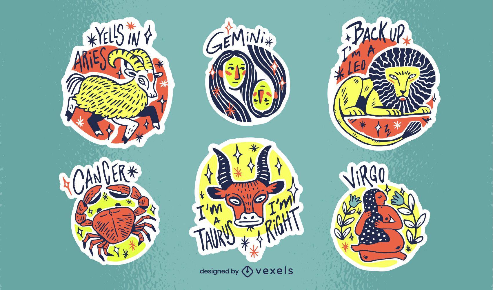 Conjunto de pegatinas zodiaco dibujadas a mano